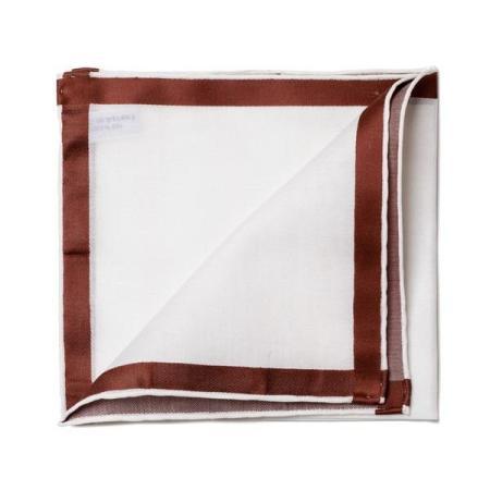Les essentiels » Mouchoir de poche amalfi blanc à satin marron