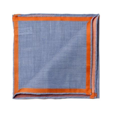 Les essentiels » Mouchoir de poche amalfi bleu à satin orange