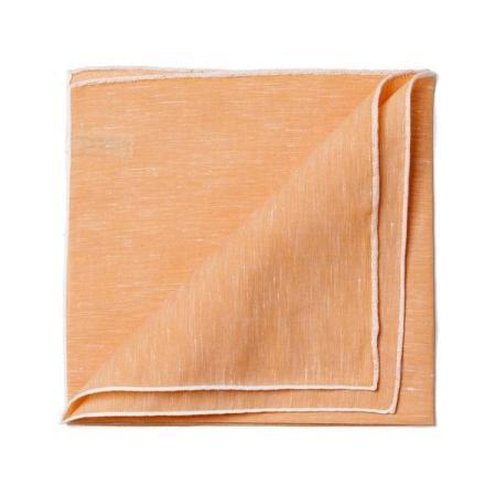 Les essentiels » Mouchoir de poche lin cuivre bord blanc