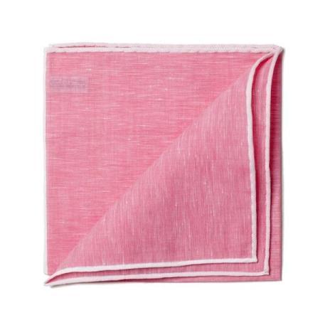 Les essentiels » Mouchoir de poche lin fuschia bord blanc