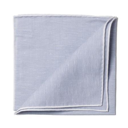 Les essentiels » Mouchoir de poche lin gris bord blanc
