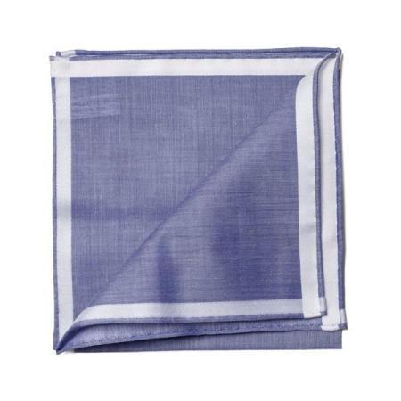 Les essentiels » Mouchoir de poche amalfi marine à satin blanc