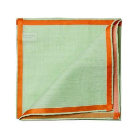 Les essentiels » Mouchoir de poche amalfi vert à satin orange