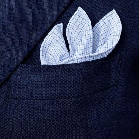 Les essentiels » Mouchoir de poche san carlo ciel à petits carreaux