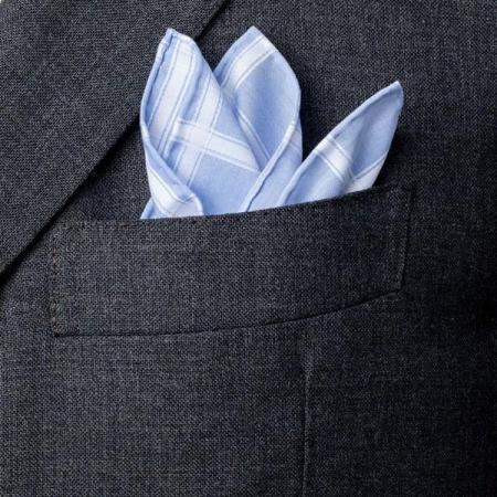 Les essentiels » Mouchoir de poche ciel à carreaux satin blanc