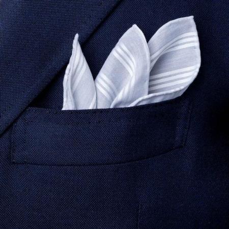 Les essentiels » Mouchoir de poche trianon gris satin blanc