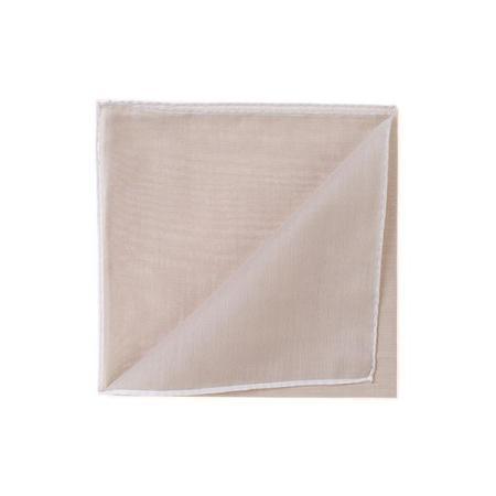 Les essentiels » Mouchoir de poche HR beige à bord blanc