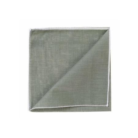Les essentiels » Mouchoir de poche HR kaki à bord blanc